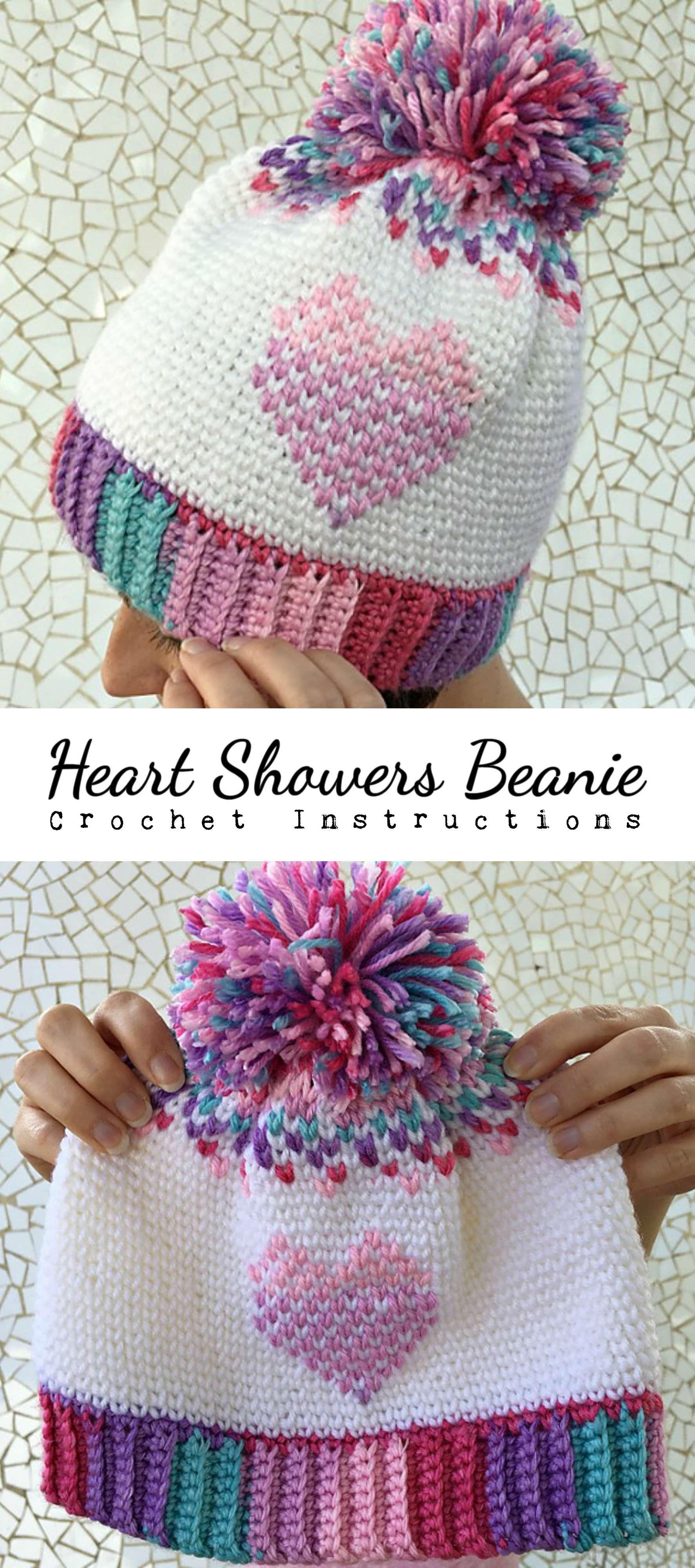 Crochet Heart Showers Beanie | CrochetHolic - HilariaFina ...