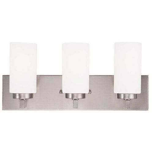 Photo of Livex Lighting 16373-91 West Lake 18 in. Three-light bathroom lamp made of brushed nickel – brushed, temporary   Bellacor