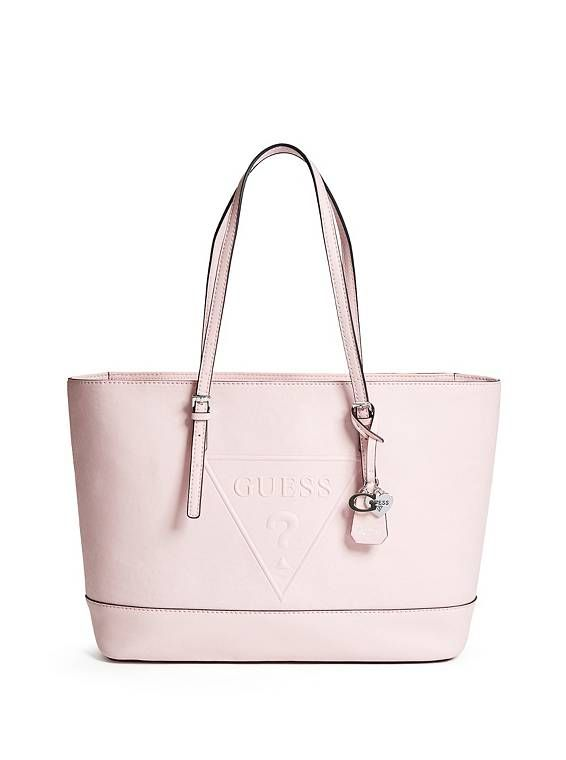 Peak Tote At Guess 74 99 18 W X 11 H 5 D Style Aa628625 An Embossed Logo Gives A Modern Look To This Classic Charms Add Fun Touch