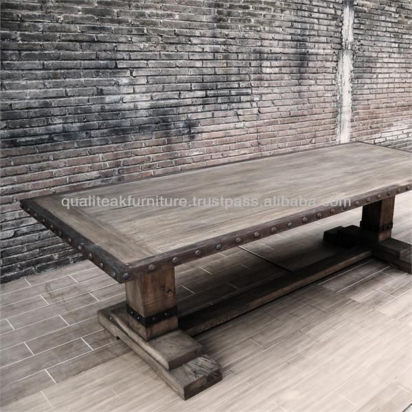 Antique French Country Distress Steel Edge Teak Dining Table Photo