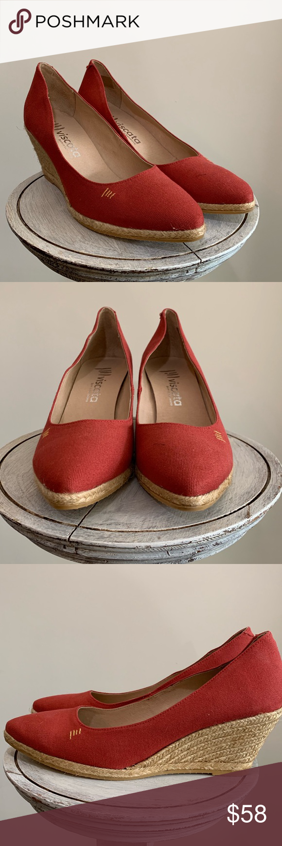 c65a35e3bca Viscata Barcelona Espadrille Canvas Wedges Red 11 EUC Viscata born ...