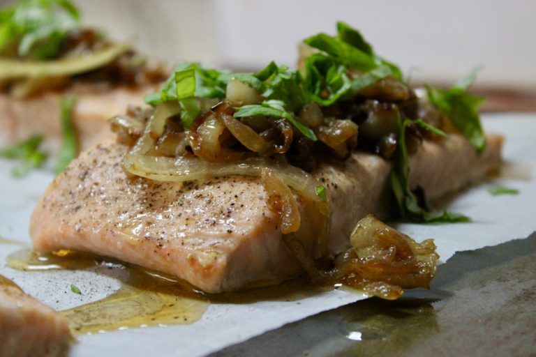 Photo of Oven Roasted Salmon with Caramelized Onions and Basil Home Beccanomics