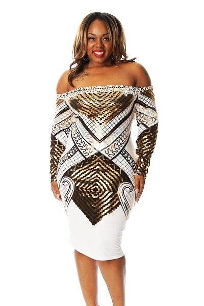 Plus Size Metallic Digital Print Dress