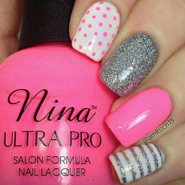 Pink, white  silver nail art