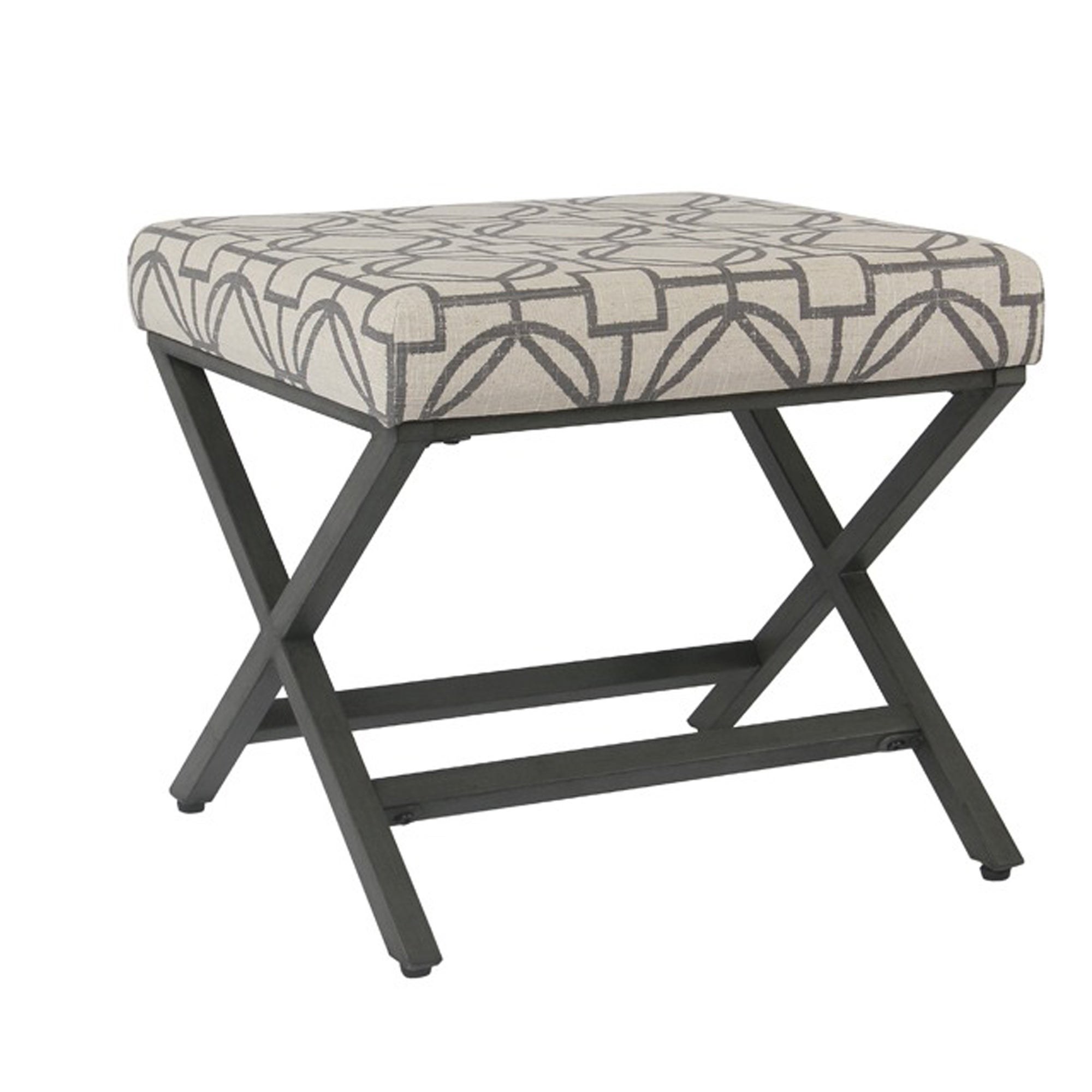 Excellent Patterned Fabric Upholstered Ottoman With X Shape Metal Legs Bralicious Painted Fabric Chair Ideas Braliciousco