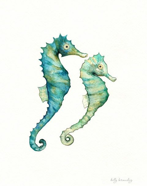 Wall Art, Beach Art, Seahorse painting, Seahorse Love, watercolor ...