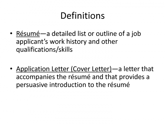 definition of a resume