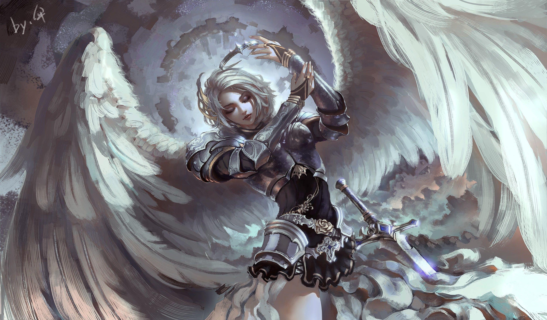 Angel With Sword Illustration Fantasy Art Angel Armor Wings Gray 2k Wallpaper Hdwallpaper Desktop Warriors Wallpaper Fantasy Art Angels Angel Warrior