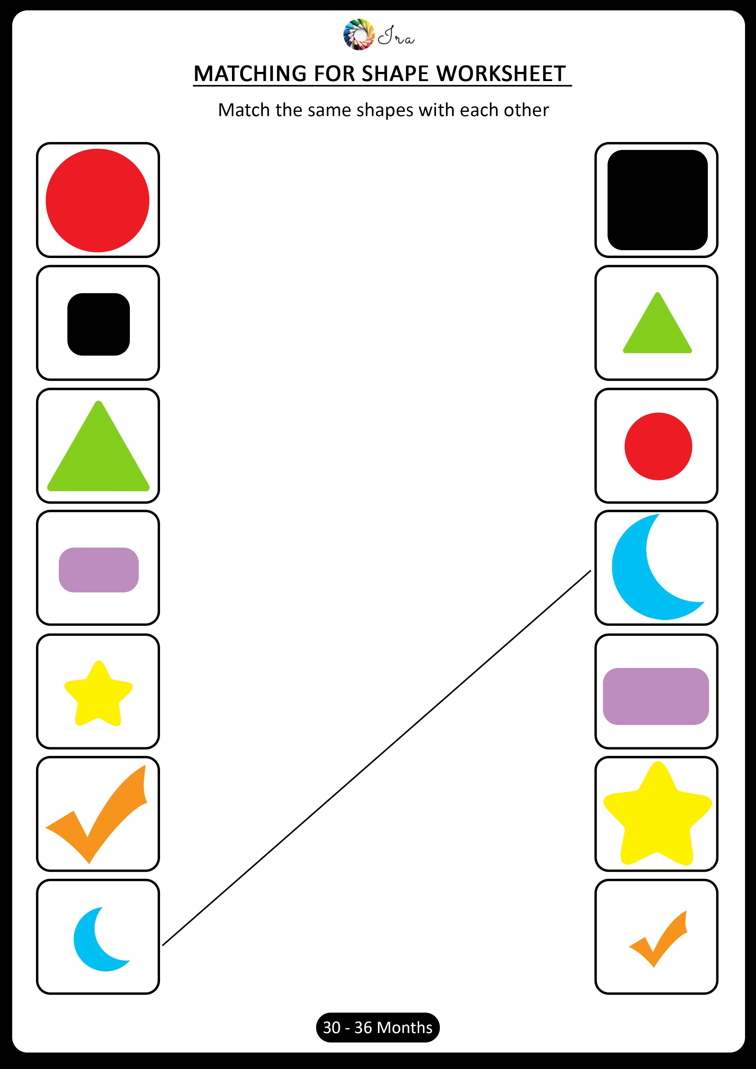 Download Free Matching Shapes Worksheets For 30 36 Months