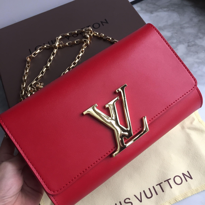 Louis Vuitton woman Lv Louis chain clutch bag red color | Louis ...