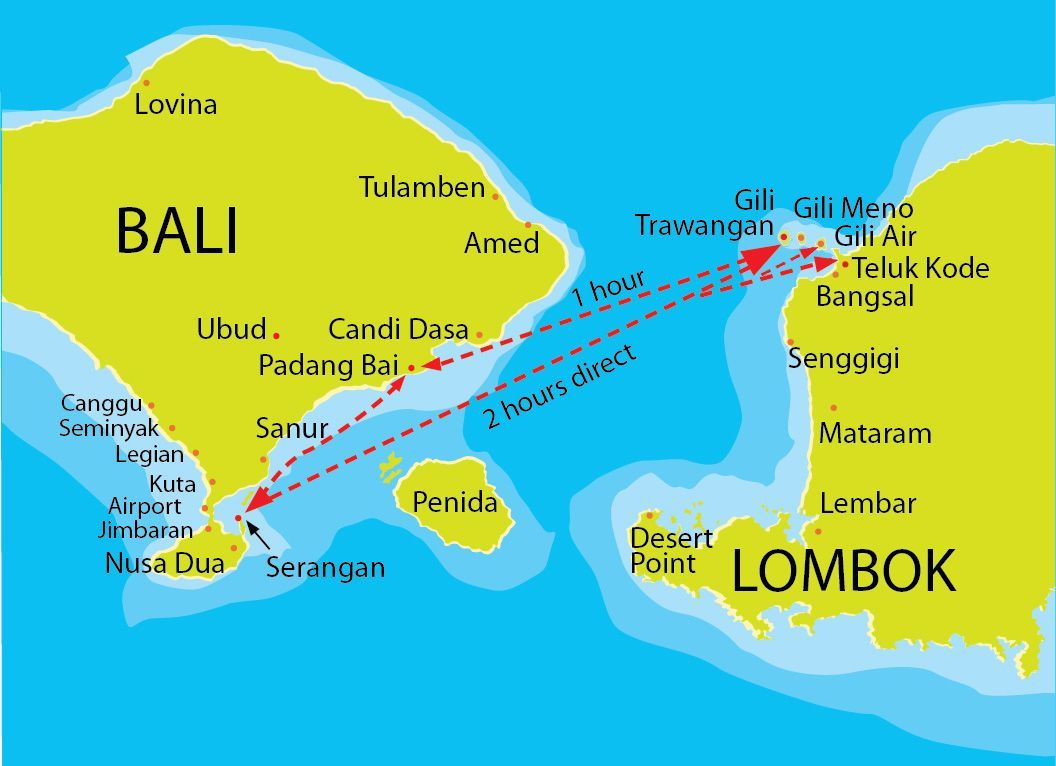 gili trawangan map fastboat routes indonesia. Black Bedroom Furniture Sets. Home Design Ideas