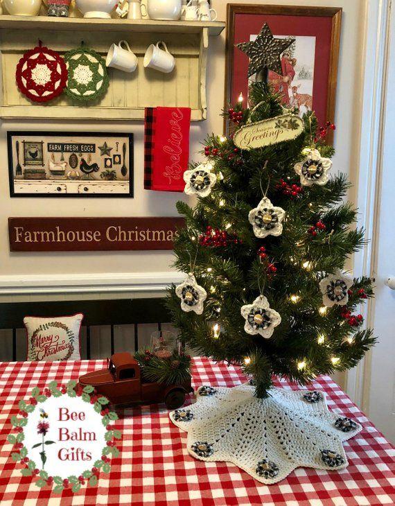 farmhouse christmas tree skirt ornament set crochet tree skirt rh pinterest com