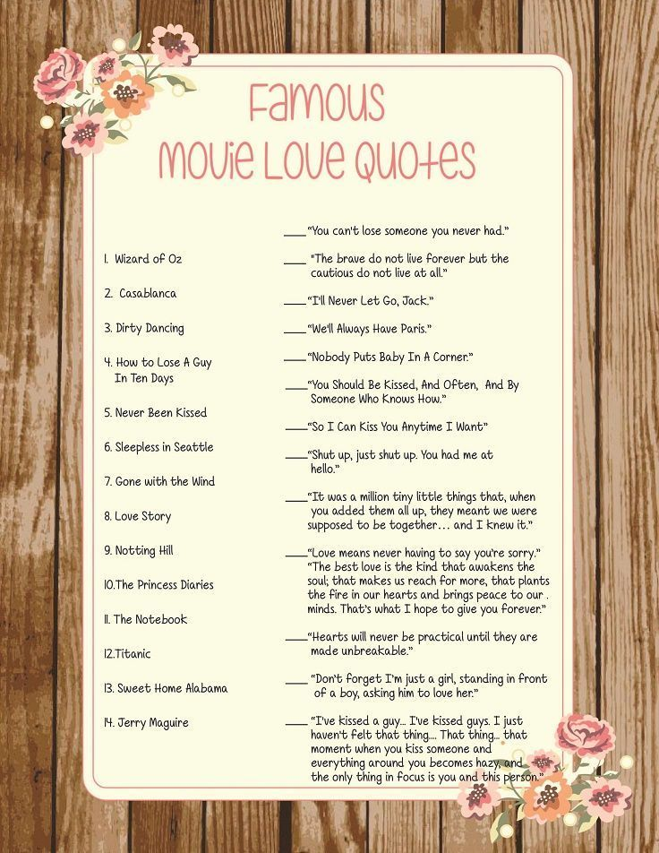 Wedding Bridal Shower Game Famous Movie Love Quotes Printable ...