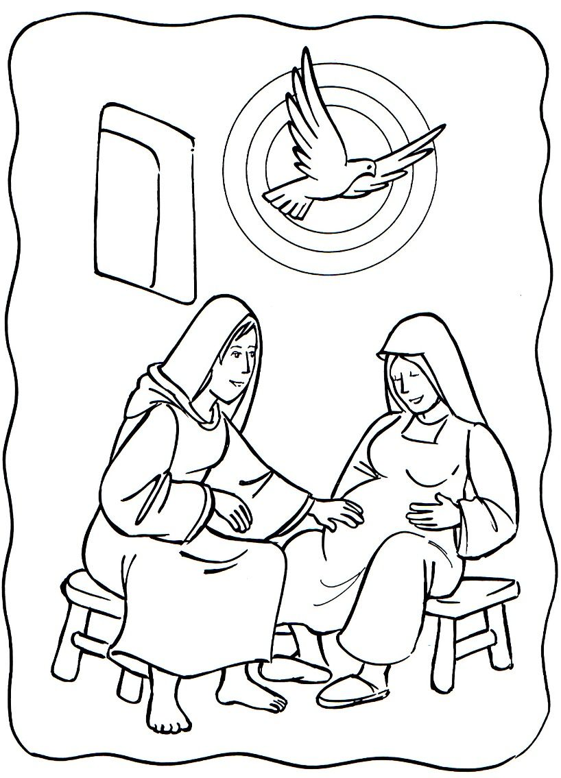 luke 1 39 56 mary visited elizabeth mary u0026 elizabeth coloring