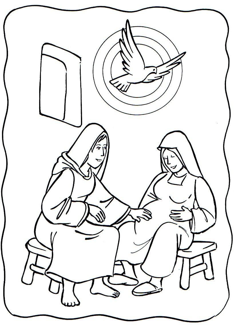 Luke 1 39 56 Mary Visited Elizabeth Mary Elizabeth Coloring