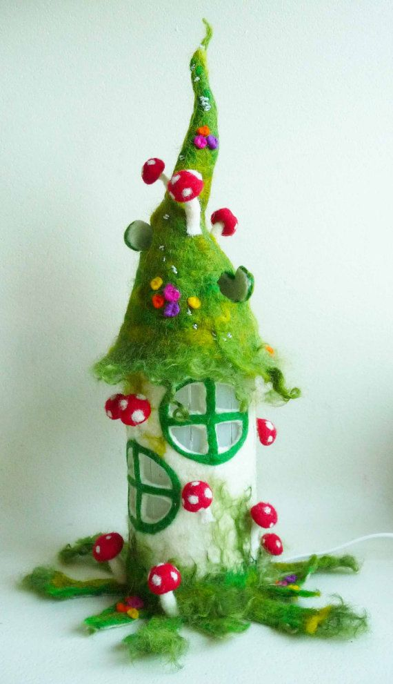 felted fairy house, toadstool, bedside lamp, night light, handmade, wool, felt, fairy light, Waldorf inspired, made to order