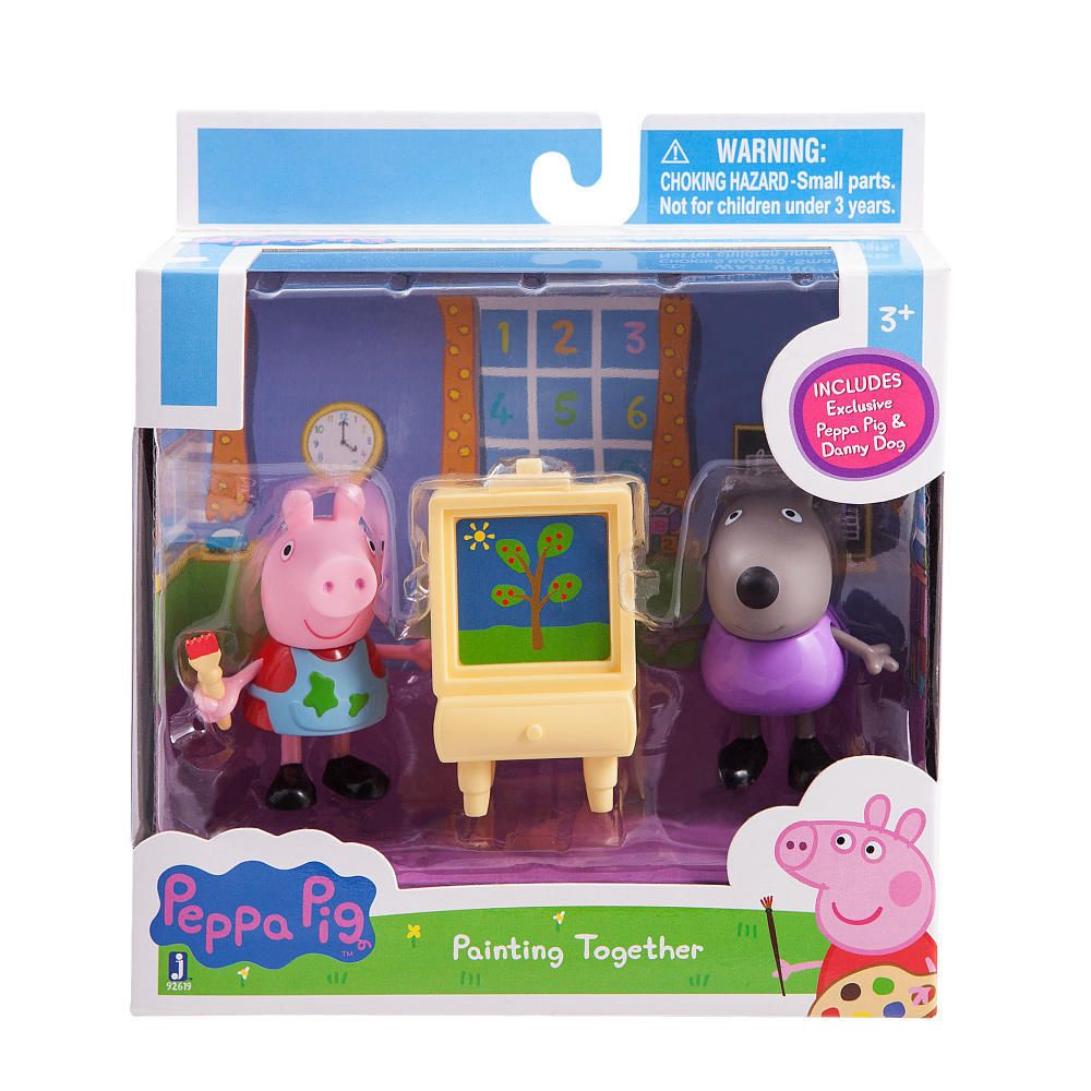 Peppa Pig Painting Class 2pc Figures Dolls Peppa Pig Danny Dog
