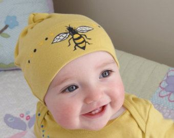 Bumble Bee Baby Hat Hand Painted On Organic Cotton American Apparel Fun Gift