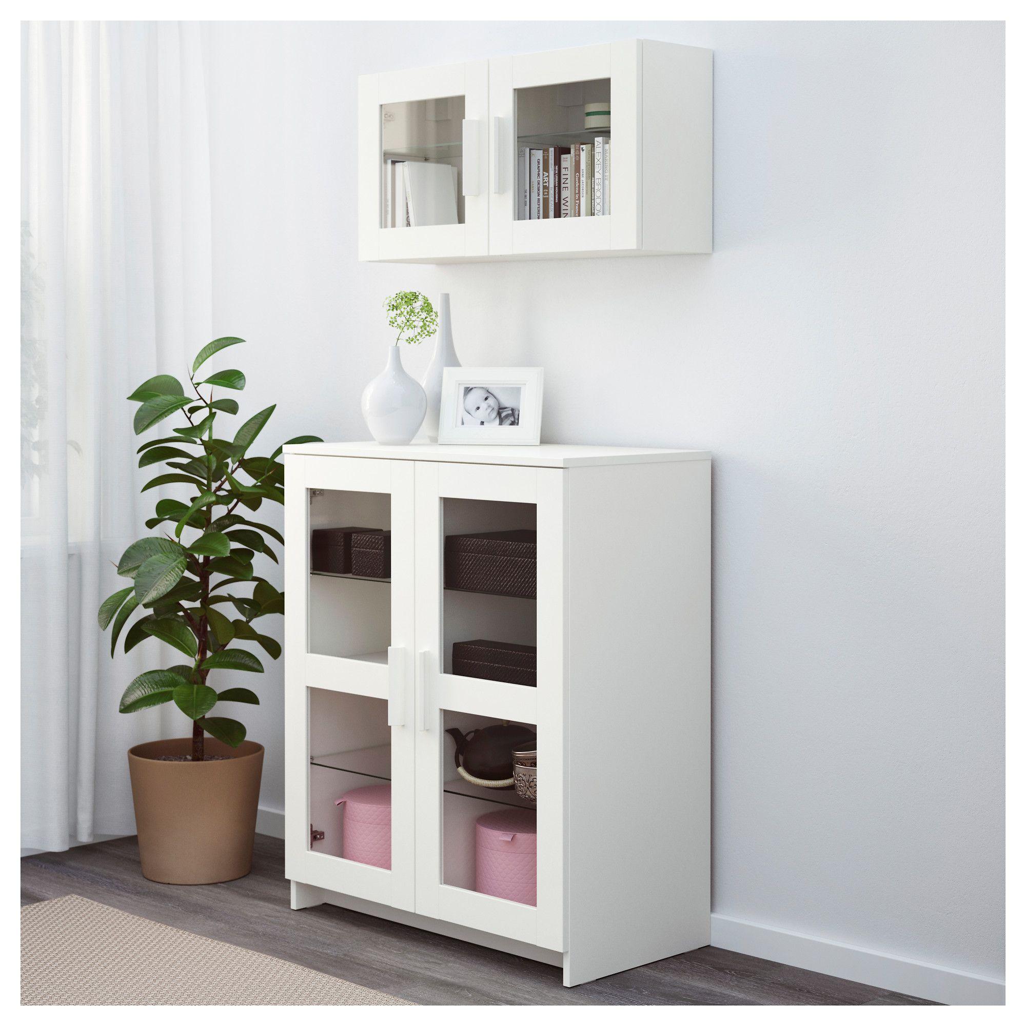 BRIMNES Cabinet with doors - glass/white - IKEA  Cabinet doors