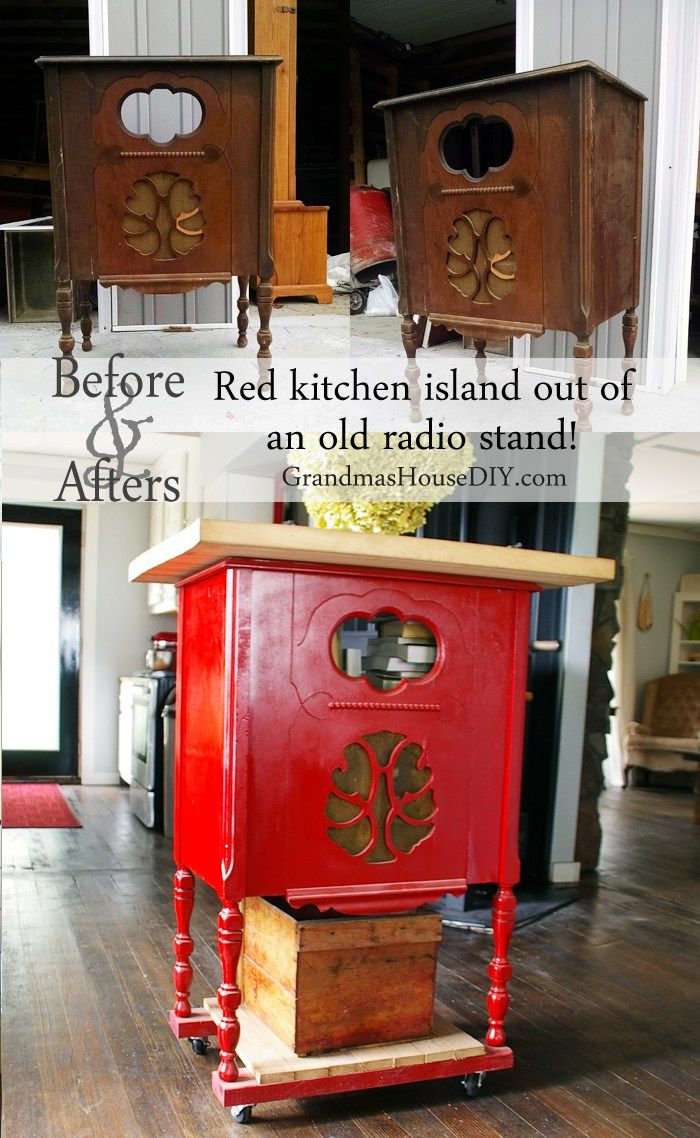 Converting and refinishing an old radio stand into a red kitchen island with book storage wood working diy tips tutorials how tos