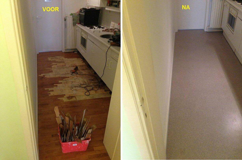 Novilon Vinyl Vloer : Plaatsen van novilon vinyl vloer voor en na