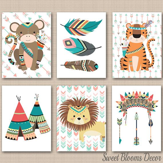 Tribal Nursery Wall Art Jungle Animals Nursery Wall Art Safari Decor Zoo Animals Nursery Wall Art Mint Arrows Nursery Decor UNFRAMED 6 C262