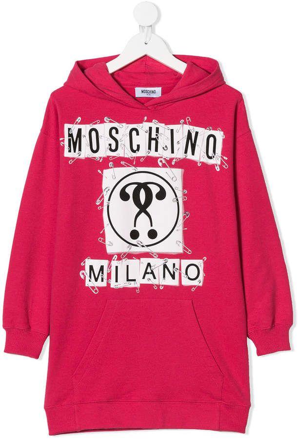 d4609549b Moschino Kids TEEN logo print hoodie dress | Products | Kids logo ...