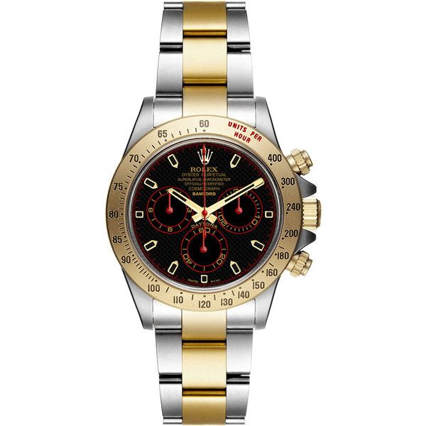 Bamford Watch Department Bi-colour Super Matte Magnetic Steel And Gold... ($38,000) ❤ liked on Polyvore featuring jewelry, watches, black and gold watches, red dial watches, gold bracelet watches, bracelet watches y two-tone watches