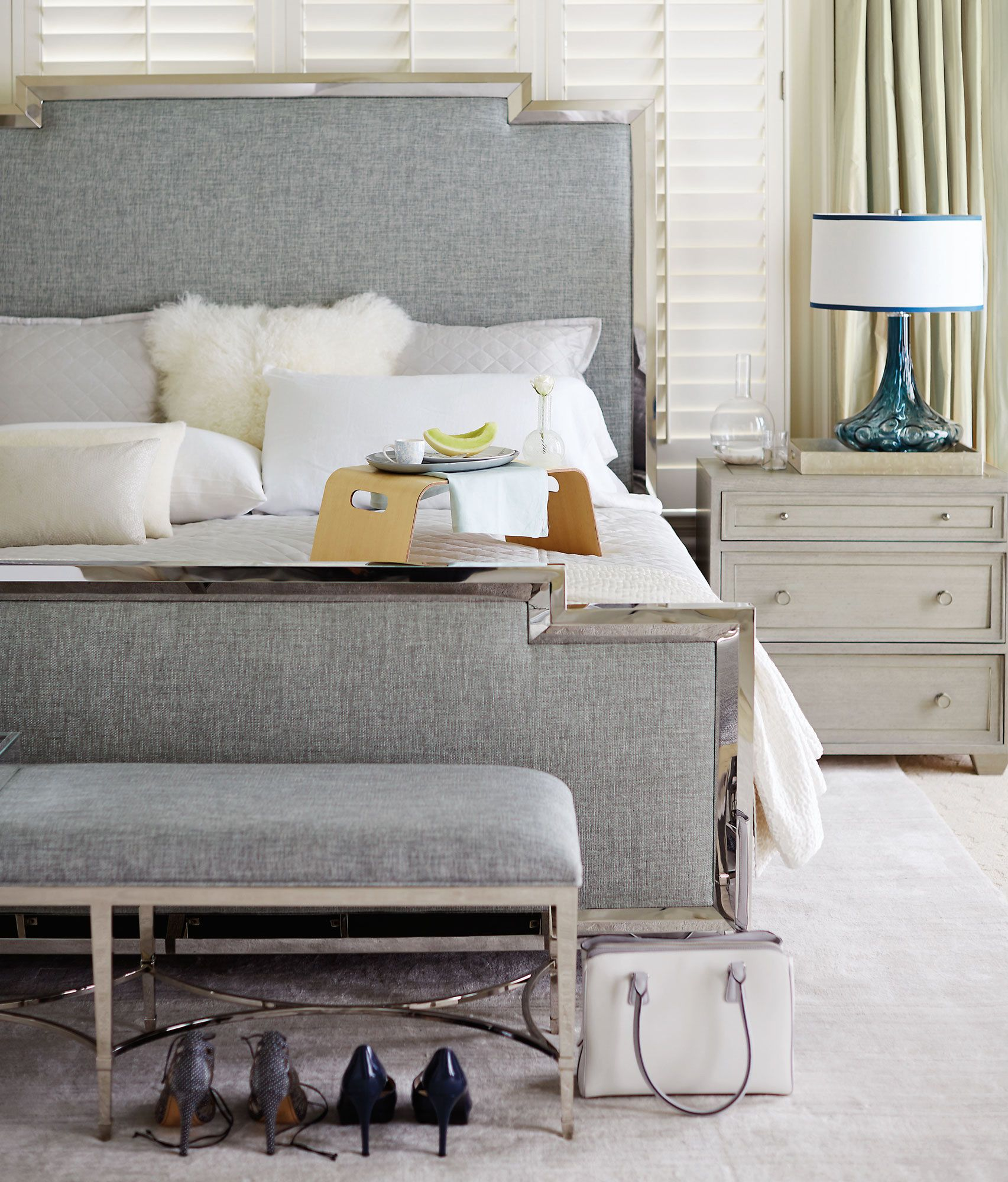 Best Bernhardt Criteria Metal Upholstered Panel Bed Shown In Heathered Pale Blue Woven Criteria 400 x 300