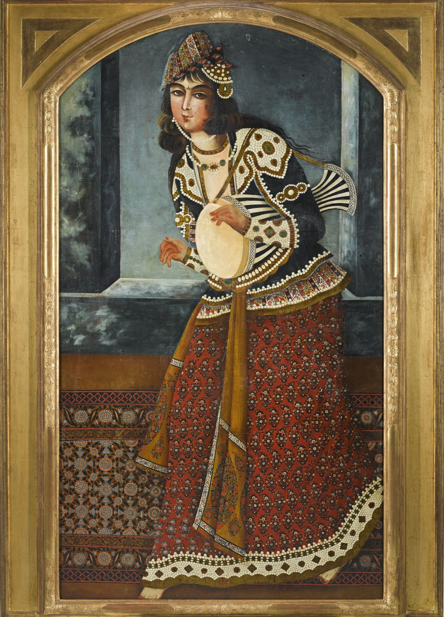 A lady playing a drum, Persia, Qajar, first half 19th century oil on ...
