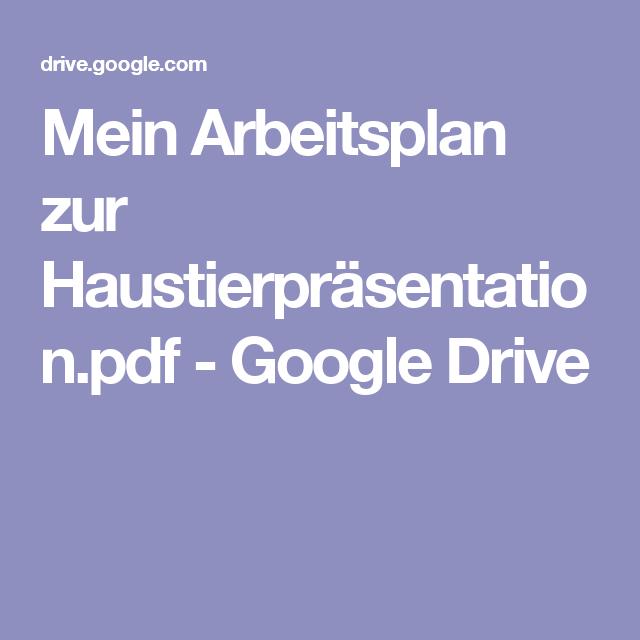 Mein Arbeitsplan Zur Haustierprasentation Pdf Google Drive Arbeitsplaner Google Drive Planer