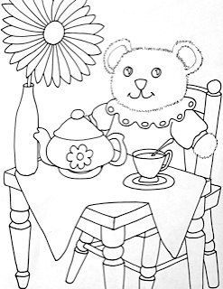 Printable Coloring Page Teddy Bear Picnic