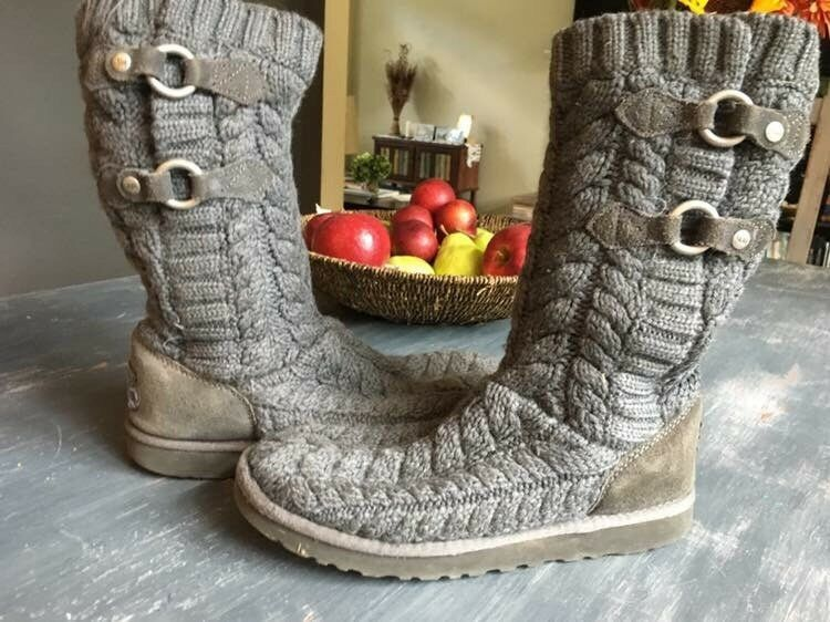 834125a9dce Ugg Australia Boots Sz 8 Gray Tularosa Route Cable Knit w Buckles ...