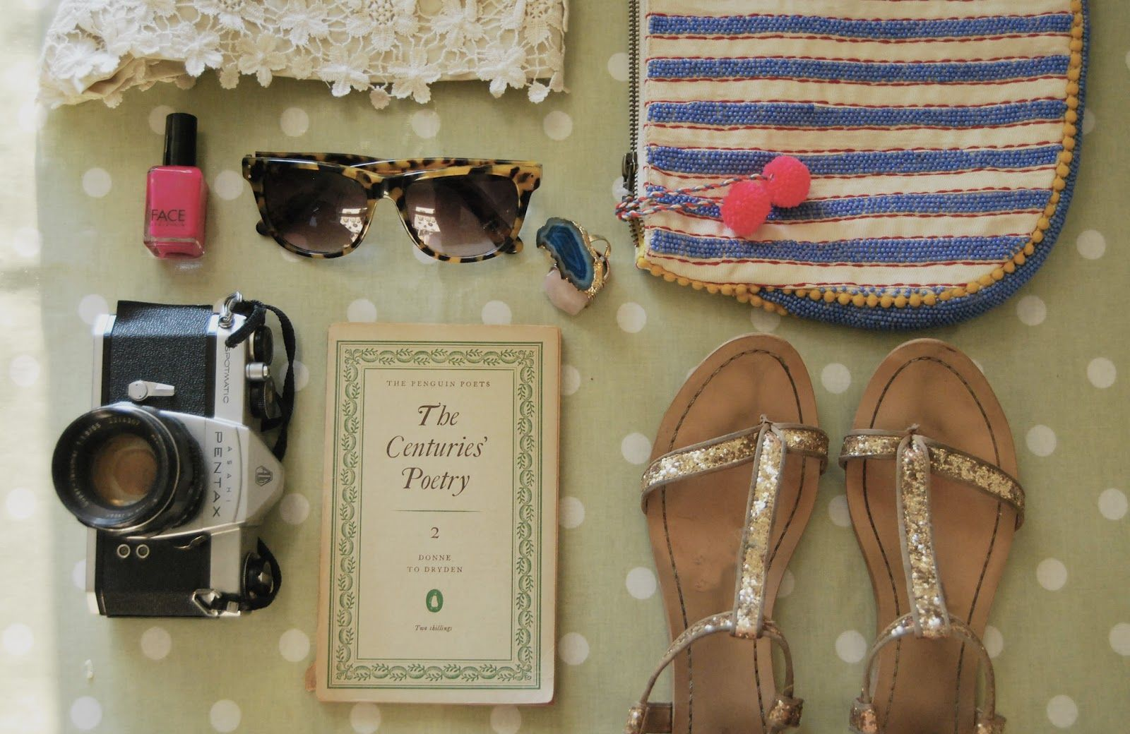 Crochet shorts: Zara, Spiked Punch nail polish: J. Crew, tortoiseshell sunnies & clutch: Anthropologie, rings: Topshop, sandals: Zara.