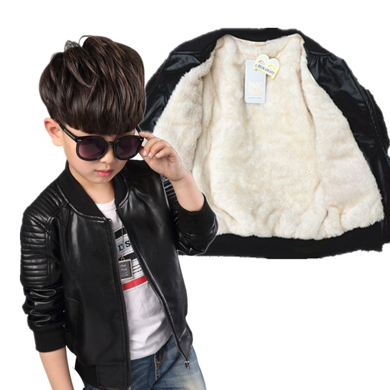 Toddler Boy Leather Jacket Kids Bomber Jacket Outerwear And Coats
