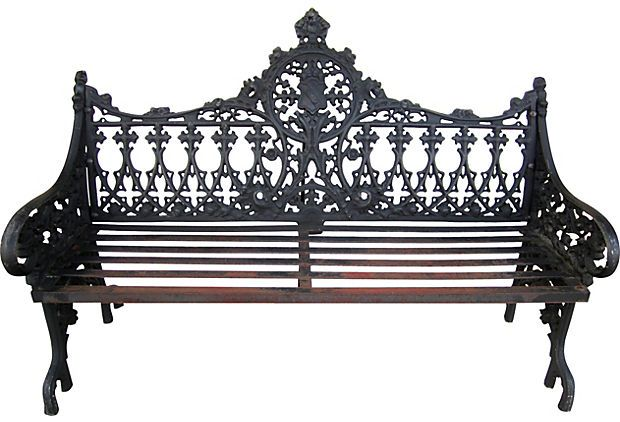 Terrific Victorian Cast Iron Garden Bench On Onekingslane Com Cast Evergreenethics Interior Chair Design Evergreenethicsorg