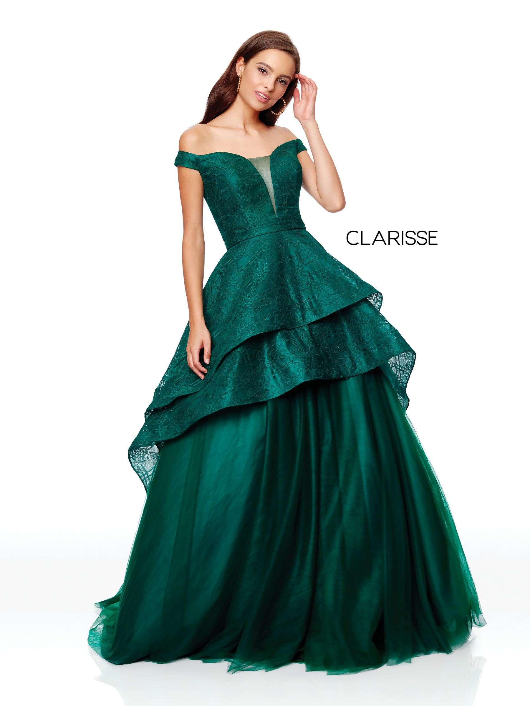 85a4d10b975 3730 - Forest green off the shoulder high low prom dress with a detachable  skirt