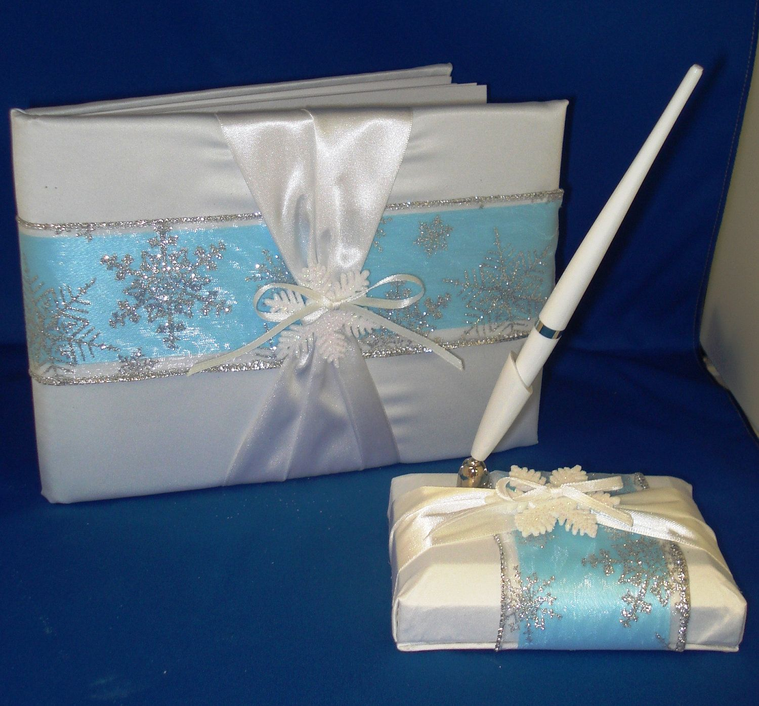 Ice Blue Guest Book & Pen Set with Snowflakes - Winter Wedding ...