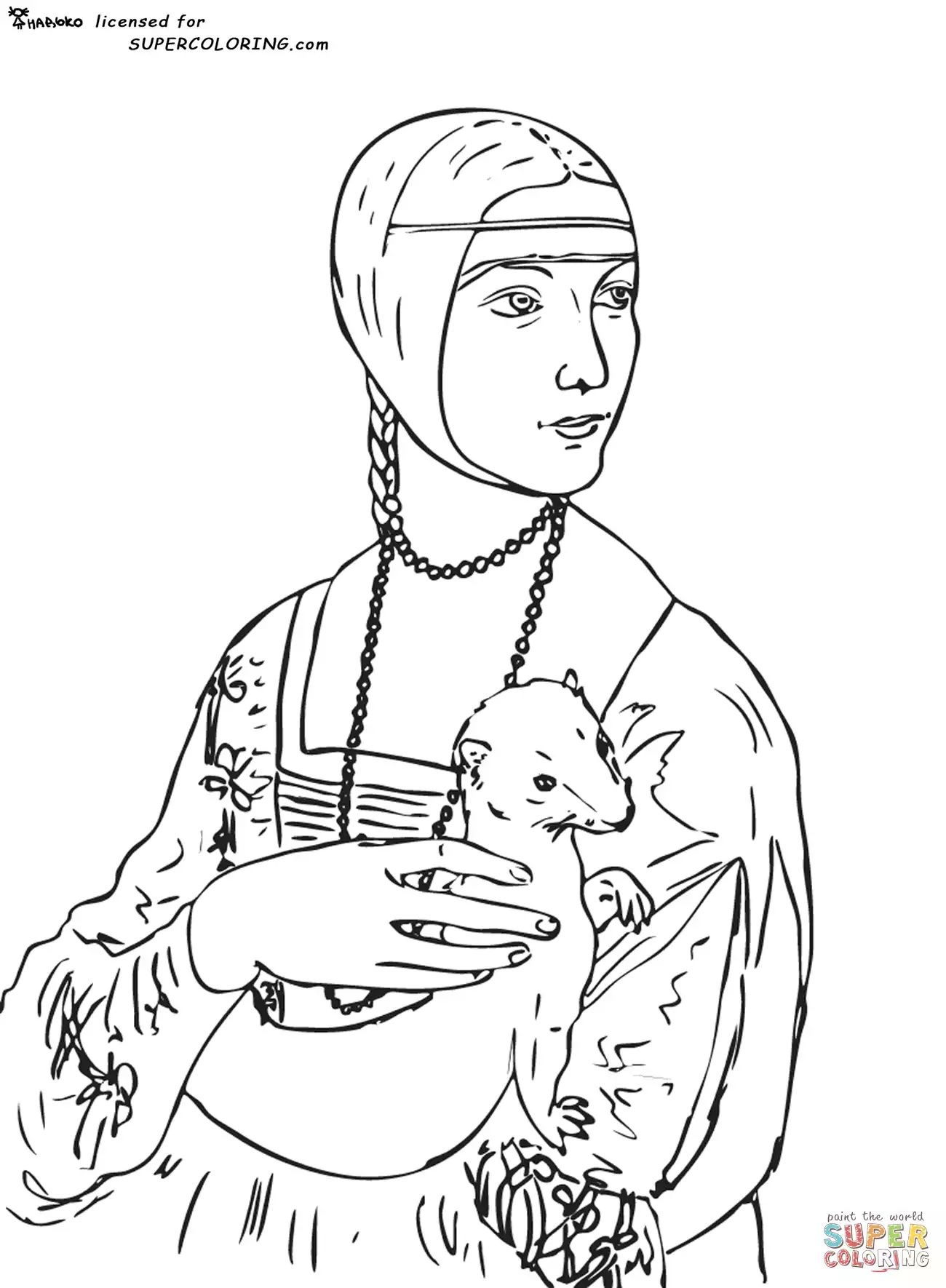 coloriage ART Leonard De Vinci La dame  l hermine
