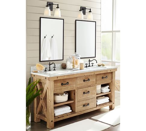 Constructed Of Deeply Distressed Wood That Hints Toward A Rich Industrial  Past, Our Benchwright Double Sink Console Makes A Bold Statement In The  Bath.