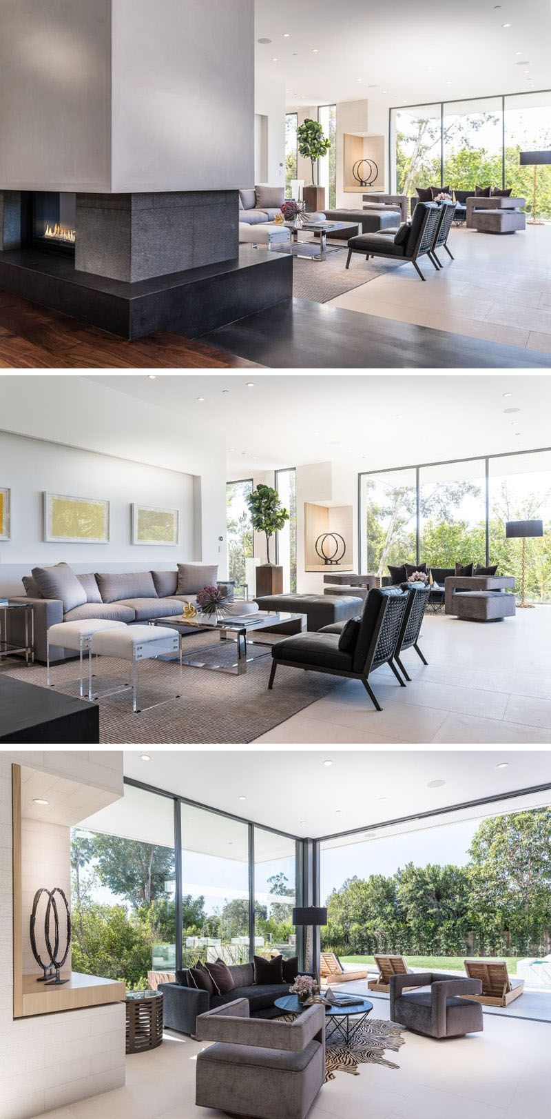 Home interior design outside this large sitting area has two different spaces to relax in as