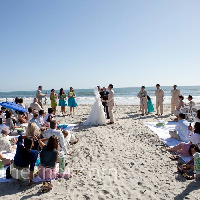 Songs For A Beach Wedding Ceremony: Four King-size Sheets Served As Seating For The Beach