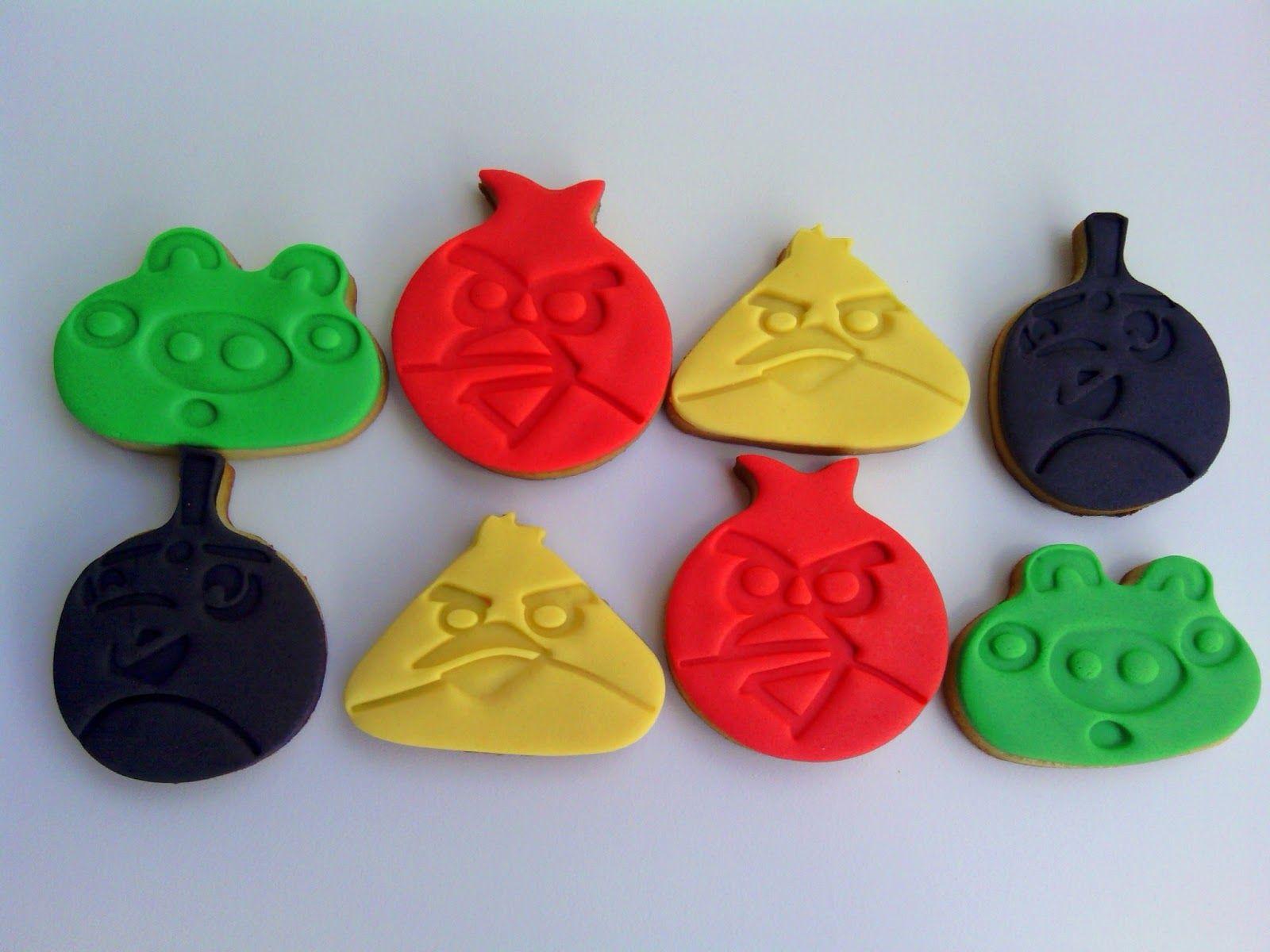 Cookies con fondant de angry birds