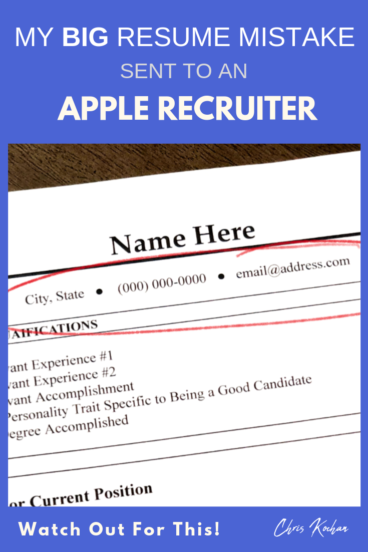 My BIG Resume Mistake Sent to an Apple Recruiter Watch