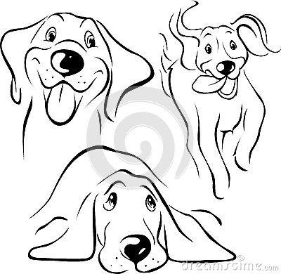Dog Illustration Black Line On White Background ศ ลปะ