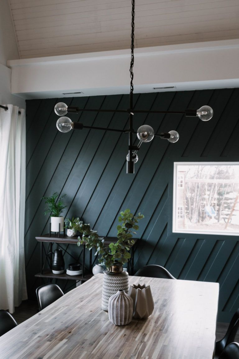 DIY Modern Moulding Accent Wall | Dining room lighting ...
