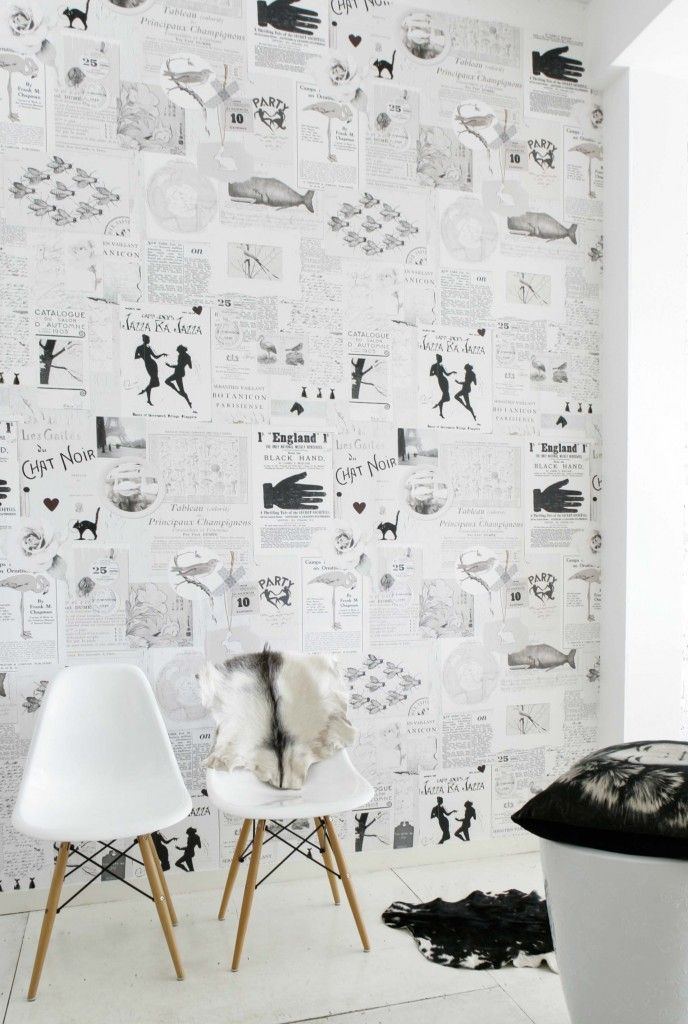 Black White Old Papers Wallpaper