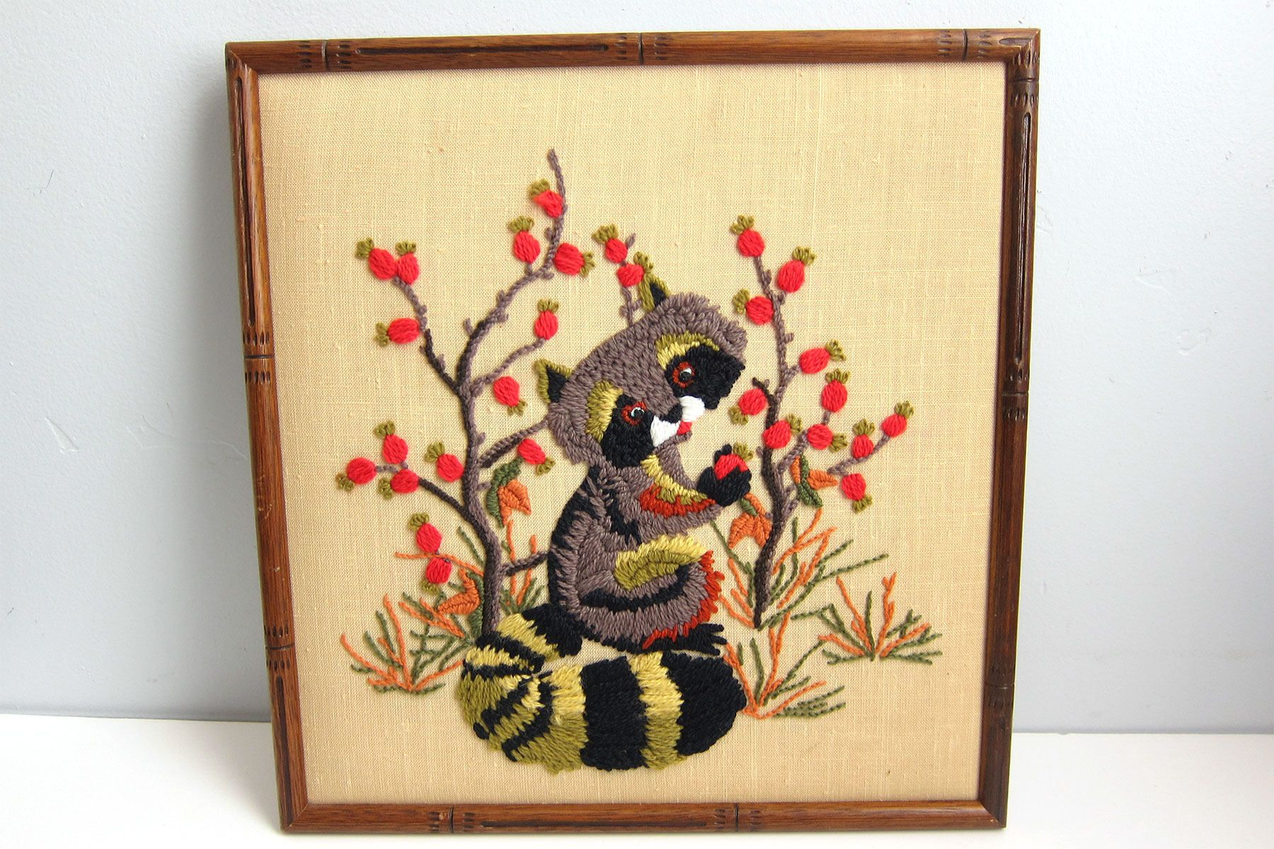 Vintage Cute Raccoon Apple Tree Crewel Embroidery Framed Wall Art ...