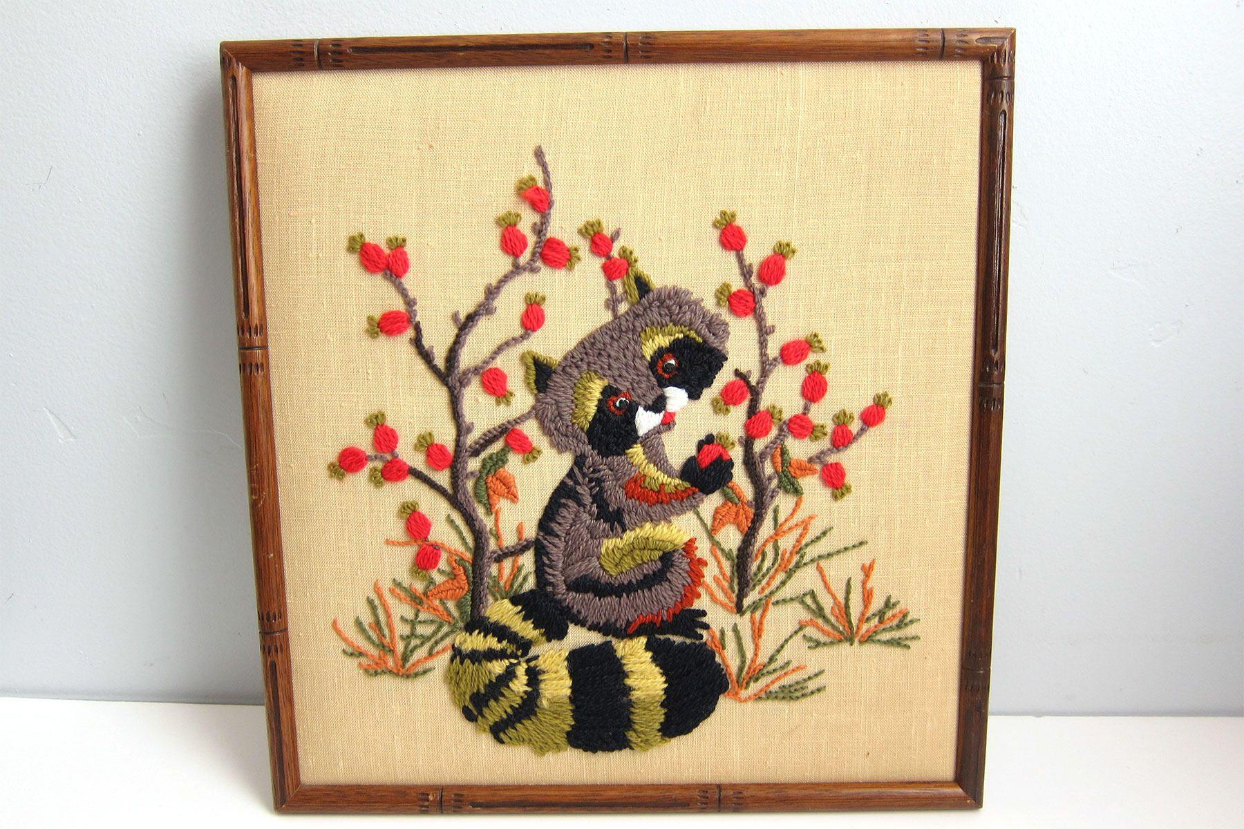 Vintage Cute Raccoon Apple Tree Crewel Embroidery Framed Wall Art ...