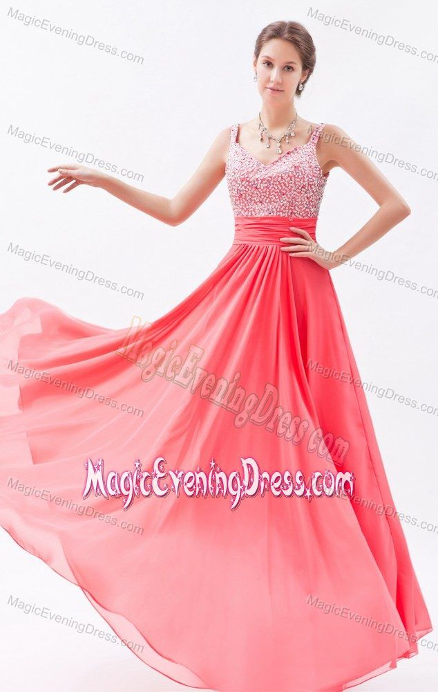 Coral Red Empire Straps Evening Dresses with Beading to Floor-length